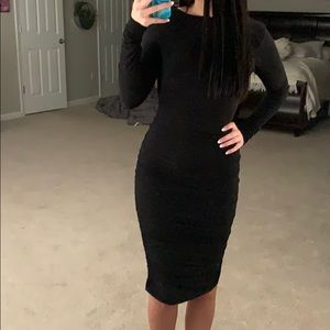 Midi black dress with deep v back